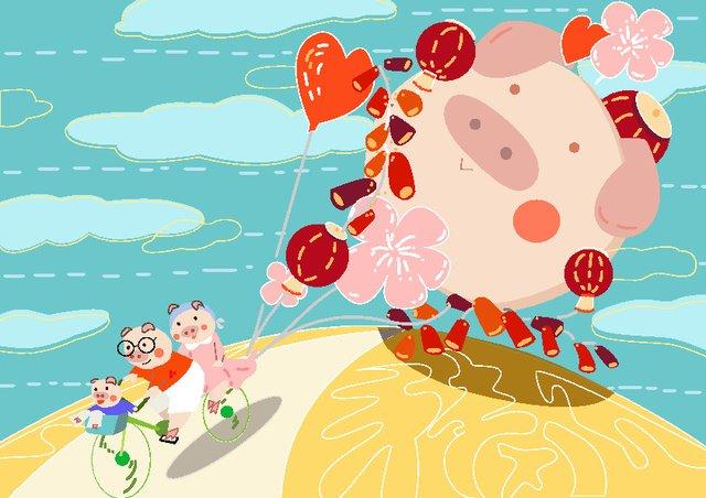 2019 creative calendar janeiro ano porco ilustração fresca Material de ilustração