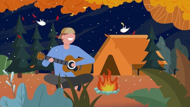 Hello november suburban camping illustration llustration image