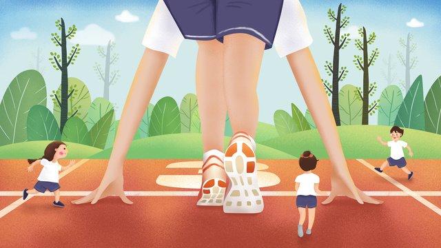 Ban đầu vẽ tranh minh họa khuôn viên trường thể thao chạy thi đấuTrò  Chơi  Trong PNG Và PSD illustration image