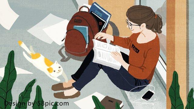 cuộc sống sinh viên ban đầu vẽ tay minh họa Hình minh họa