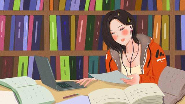 hình minh họa gốc của một nữ sinh viên đang học tập chăm chỉ trong thư viện cuộc sống khuôn trường Hình minh họa Hình minh họa