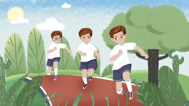 オリジナルイラストキャンパス遊び場ゲームシーン イラスト素材 イラスト画像