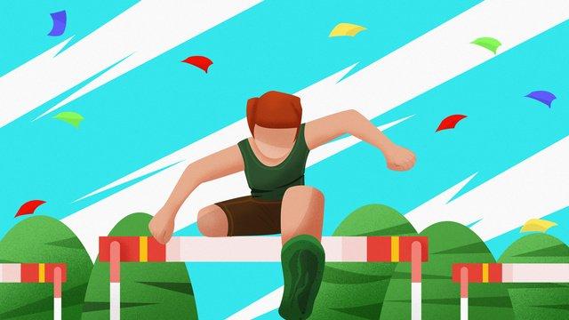 Vượt rào thể thao ban đầuKhuôn  Viên  Cuộc PNG Và PSD illustration image
