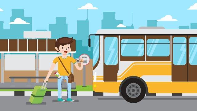 汽車旅行卡通插畫 插畫素材 插畫圖片