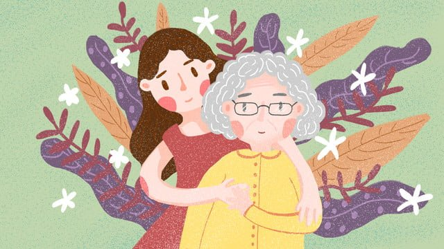 caring for the elderly and llustration image