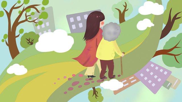 年配の娘の世話をし、母親を助け、新鮮でオリジナルのイラスト イラスト素材 イラスト画像