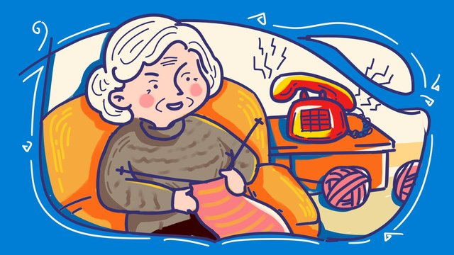 Caring for lonely old people often go home to see the color strokes hand painted original illustration llustration image illustration image