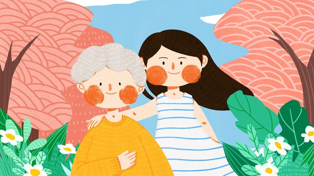 caring for the elderly girl to accompany outdoor simple and lovely flat original illustration llustration image illustration image