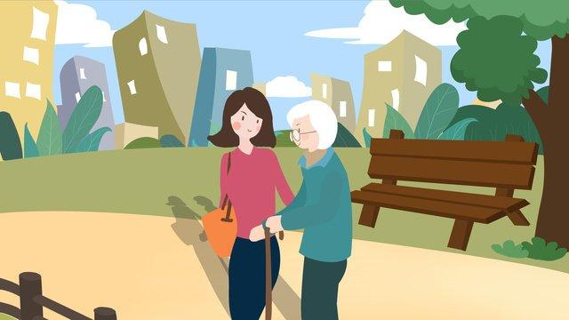 公園で母親と一緒に散歩をする高齢者の世話 イラスト素材