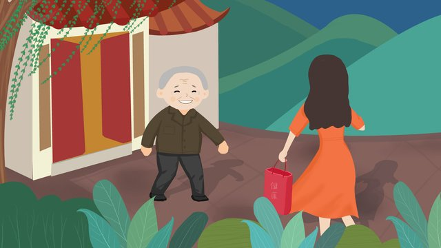 高齢者の世話をするために家に帰ることが多い イラスト素材 イラスト画像