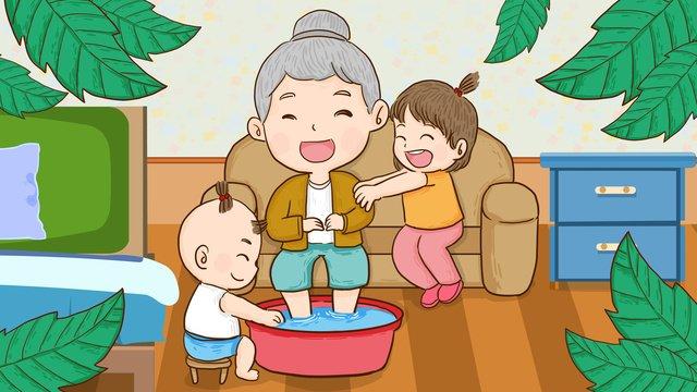 お年寄り、子供、お年寄り、フットマッサージ、手描きオリジナルイラスト イラスト素材 イラスト画像