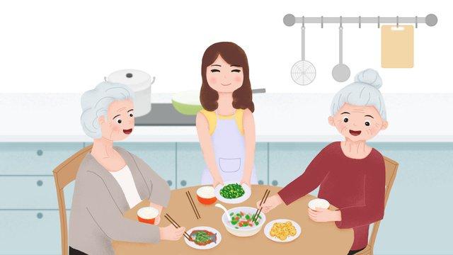Original small fresh and elders eating home cooking caring for the elderly llustration image illustration image