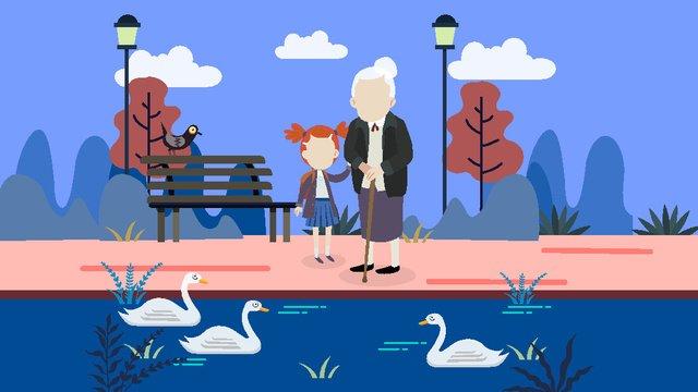 高齢者が公園に行くために同行するための高齢者のためのシンプルで新鮮なケア イラスト素材 イラスト画像