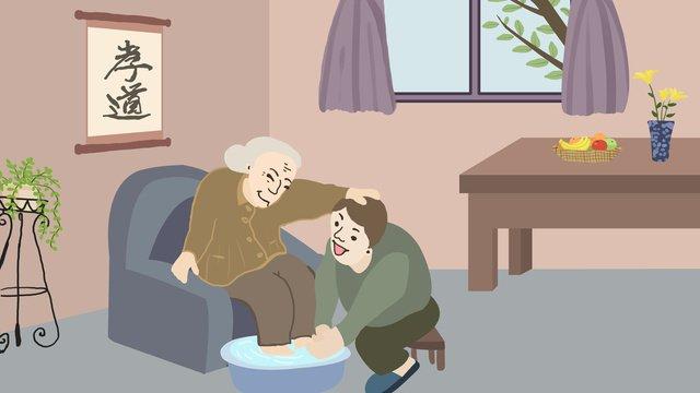 孝行を研究するための高齢者の世話 イラスト素材