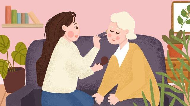 高齢者のお手入れ、化粧、おばあちゃん、名誉、尊敬、手描きイラストポスター イラストレーション画像