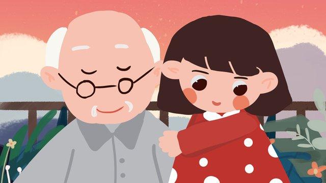 高齢者、祖父、子供、ケア、尊敬、新鮮な手描きのイラストのお手入れ イラストレーション画像