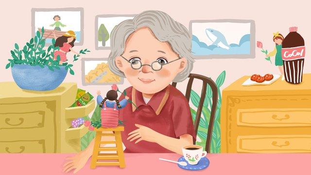 Original hand painted illustration caring for the elderly living at home llustration image illustration image