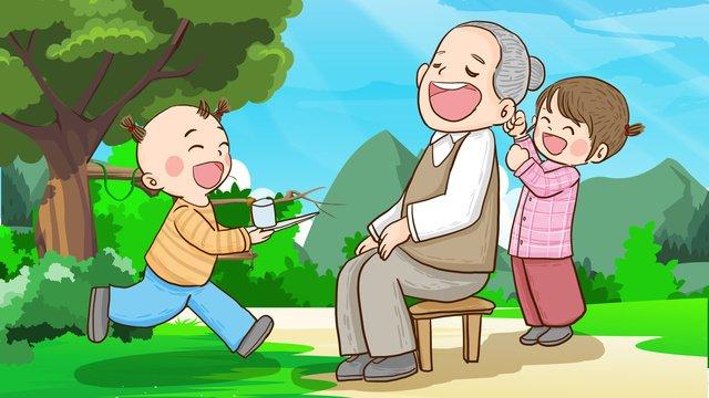 お年寄り、子供、お湯を注ぐ、マッサージ、手描きオリジナルイラスト イラスト素材
