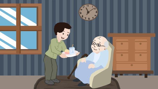 病気の高齢者の世話をする高齢者の世話 イラスト素材 イラスト画像