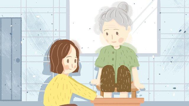 Caring for the elderly warm scene original illustration llustration image illustration image