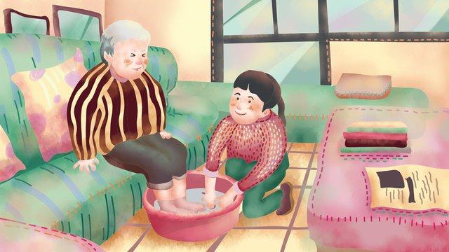 おばあちゃんの足を洗う高齢者の世話 イラスト素材 イラスト画像