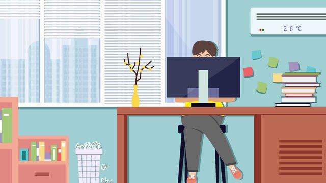 Cartoon small fresh business office flat illustration, Cartoon, Business, Office illustration image