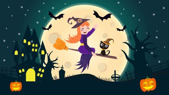 Cartoon cute halloween witch pumpkin castle tombstone broom illustration llustration image illustration image