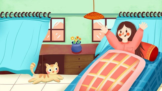 Cartoon cute morning get up girl and cat good hello illustration, Cartoon, Lovely, Meng illustration image