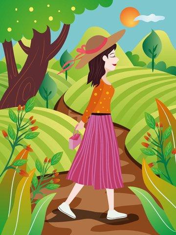 कार्टून सुंदर लड़की वन क्षेत्र वाइल्डफ्लावर चलना सुबह जल्दी चित्रण चित्रण छवि