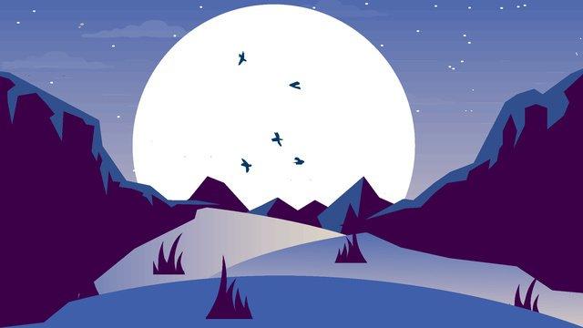 Moon cartoon vector illustration, Cartoon, Moonlight, Vector illustration image