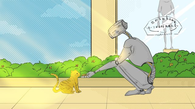 Cartoon futuristic cat robot feeding the street of future world, Cartoon Style, Future World, Street Side illustration image