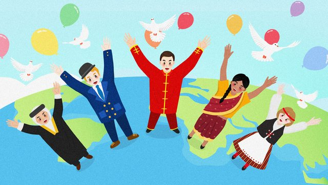 Cartoon countries youth world day illustration世界平和  世界青年の日  友情 PNGおよびPSD illustration image