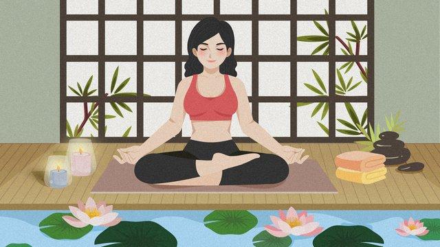 cartoon yoga tập thể dục thiền minh họa Hình minh họa Hình minh họa