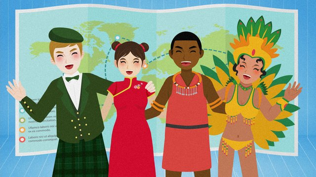 Cartoon countries youth world day illustration世界青年の日  国際青年デー PNGおよびPSD illustration image