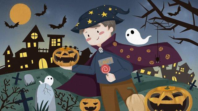 Halloween carnival pumpkin light dark castle passes through graveyard llustration image illustration image
