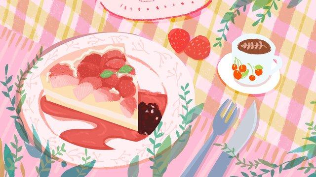 美食之清新休閒下午茶草莓蛋糕甜品和咖啡 插畫素材 插畫圖片