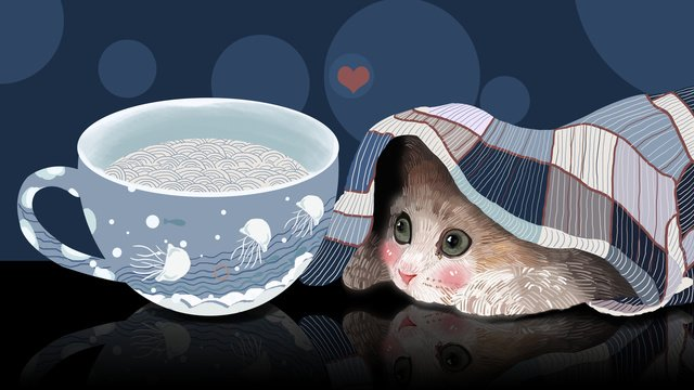 Simple and fresh cute pet series cat illustration, Cat, Blue, Cup illustration image