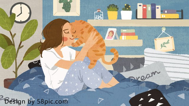 猫の飼い主、元の小さな新鮮な手描きのイラストとの幸せな生活 イラスト素材 イラスト画像