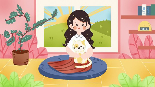 猫ペット少女猫奴隷ホームペットイラスト手描きポスター イラスト素材 イラスト画像