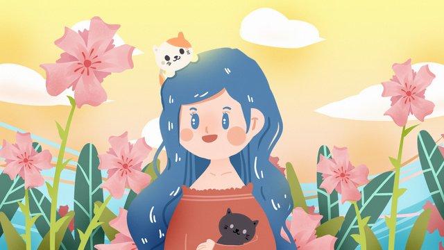 猫ペット少女かわいい動物保護花ロマンチックな森ピンクねこ  ペット  10代の少女 PNGおよびPSD illustration image