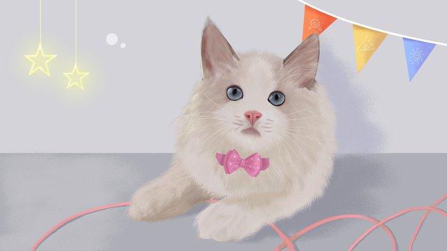 Original hand-painted realistic illustration puppet cat, Cat Plush, Meng, Cute Pet illustration image