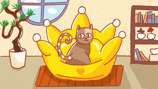 Cute pet cat illustration, Cat, Sofa, Family illustration image