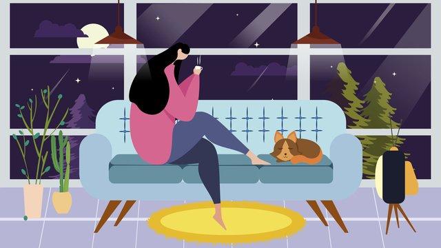 singles time minh họa của girl and cat Hình minh họa