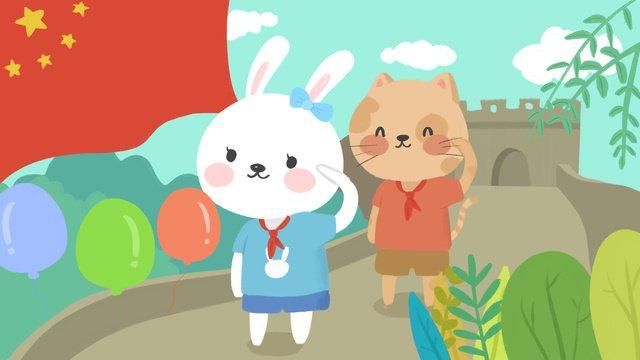 Minh họa dễ thương của phim hoạt hình vạn lý trường thành kỷ niệm tuần lễ vàng quốc khánhKỷ  Niệm  Quốc PNG Và PSD illustration image