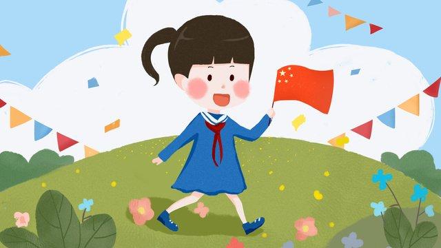 Kỷ niệm quốc khánh sinh viên dễ thương gió phẳng trẻ em minh họaKỷ  Niệm  Quốc PNG Và PSD illustration image