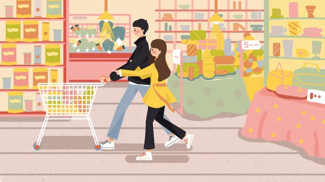 Shopping scene character illustration, Character, Scenes, The Mall illustration image