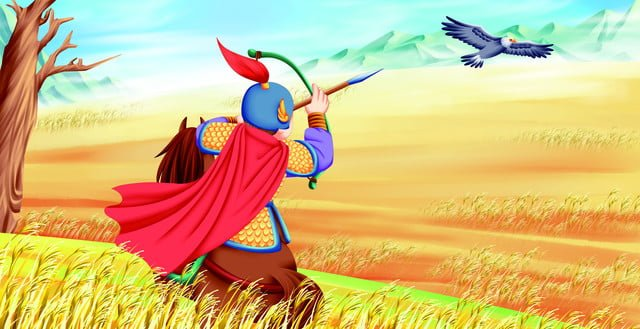 प्राचीन कविता शिकार बच्चों को गर्म रंग कार्टून चित्र पुस्तक चित्रण छवि चित्रण छवि