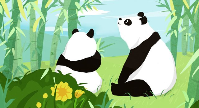 Panda chengdu travel original illustration, Chengdu, Panda, Fresh illustration image