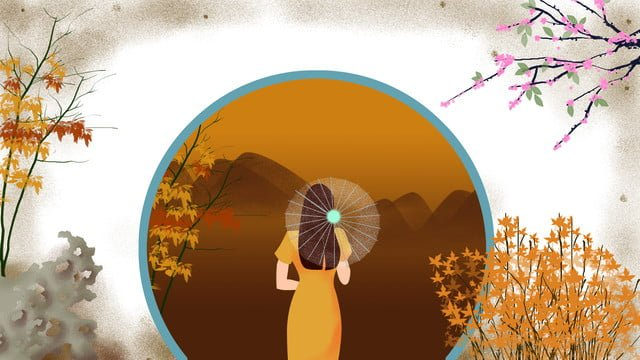 Chinese traditional dress cheongsam original illustration, Cheongsam, Antiquity, Fall illustration image