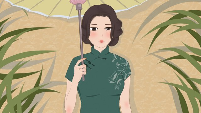 Original illustration of a woman wearing cheongsam, Cheongsam, Bluegrass, Paper Umbrella illustration image